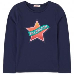 Billieblush girls longsleeve shirt glitter ster in de kleur donkerblauw