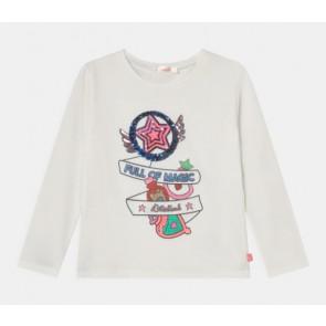 Billieblush girls longsleeve shirt glitter print in de kleur off white