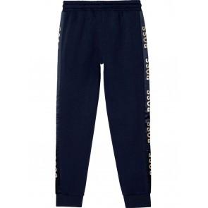 Hugo Boss kids girls sweatpants met gouden logo details in de kleur donkerblauw