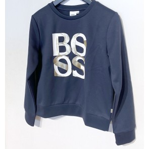 Hugo Boss kids girls sweater trui met gouden logo in de kleur donkerblauw