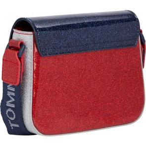 Tommy Hilfiger kids girls mini me turnlock crossover bag in de kleur blauw/rood