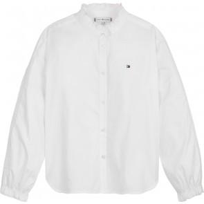 Tommy Hilfiger kids girls ruffle collar blouse in de kleur wit