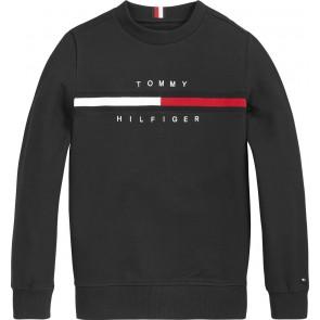Tommy Hilfiger kids boys flag rib insert sweater trui in de kleur zwart