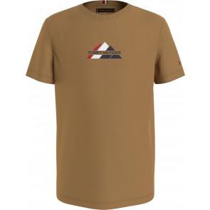 Tommy Hilfiger kids boys mountain logo tee in de kleur mustard bruin