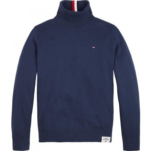 Tommy Hilfiger kids boys fijngebreide warm turtle neck sweater in de kleur donkerblauw