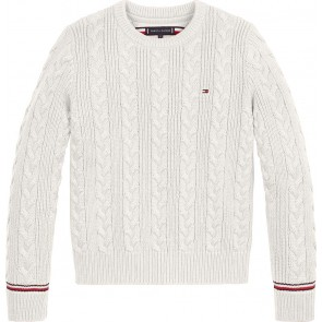 Tommy Hilfiger kids boys essential cable gebreide sweater in de kleur off white