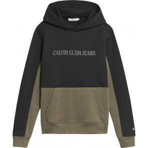 Calvin Klein kids boys color block hoodie sweater trui in de kleur zwart/groen