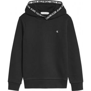 Calvin Klein kids uniseks intarsia logo hoodie sweater in de kleur zwart