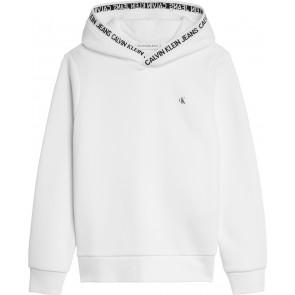 Calvin Klein kids uniseks intarsia logo hoodie sweater in de kleur wit