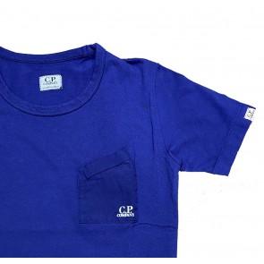 CP Company undersixteen kids shortsleeve t-shirt met borstzakje in de kleur blauw