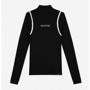Nik en Nik girls carrie pullover top met logo in de kleur zwart