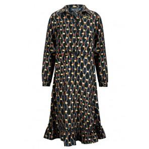Retour jeans kids girls Holly lange jurk met print in de kleur zwart/goud