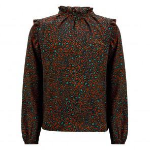 Retour jeans girls blouse Renata met panterprint in de kleur brique roestbruin