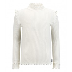 Retour jeans girls Karline rib col top met ruches in de kleur cream white