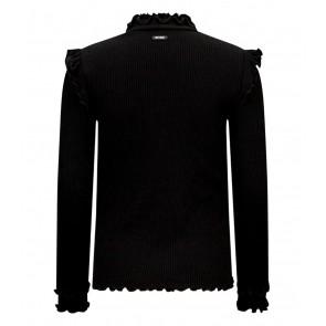 Retour jeans girls Karline rib col top met ruches in de kleur zwart