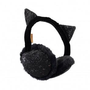 Lulu earmuffs oorwarmers met glitters en oortjes in de kleur zwart