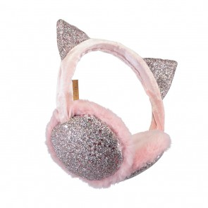 Lulu earmuffs oorwarmers met glitters en oortjes in de kleur zachtroze