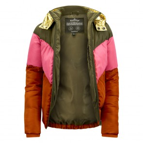 Retour jeans kids girls Helga winterjas in de kleur khaki/goud