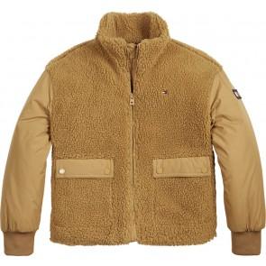 Tommy Hilfiger kids girls sherpa nylon mix teddy winterjas in de kleur vintage bruin