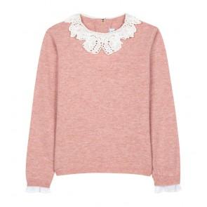 Tartin et Chocolat girls wool jumper trui met wit kraagje in de kleur roze