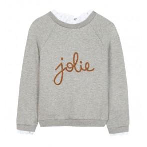 Tartin et Chocolat girls sweatshirt sweater trui met jolie tekst in de kleur grijs