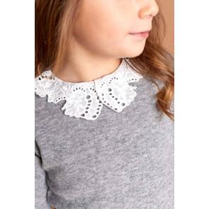 Tartin et chocolat girls wool jumper trui met wit kraagje in de kleur grijs