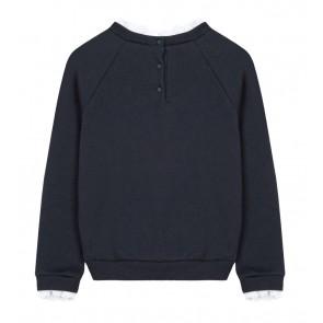 Tartin et chocolat girls sweatshirt  trui met jolie tekst in de kleur donkerblauw