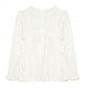 Tartin et chocolat girls blouse met lace details in de kleur off white