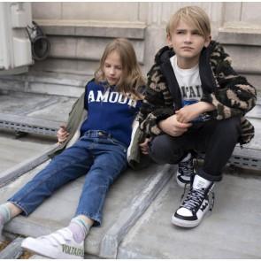 Zadig en Voltaire kids girls gebreide trui amour in de kleur kobalt blauw
