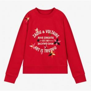 Zadig en Voltaire kids girls sweater trui met sterren in de kleur rood