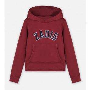 Zadig en Voltaire kids hoodie sweater trui met logo tekst in in de kleur bordeaux rood