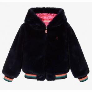 Billieblush winterjas van imitatie bont en roze voering in de kleur donkerblauw