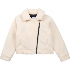 Hugo Boss kids girls teddy jasje met schuine rits in de kleur ecru