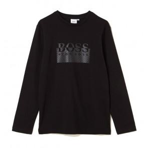 Hugo Boss kids longsleeve shirt met logo print in de kleur zwart