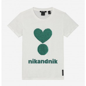 Nik en Nik girls valerie wrijf t-shirt in de kleur wit/groen/zwart