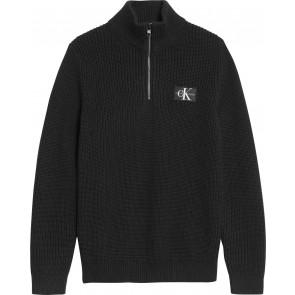 Calvin klein kids boys zip up badge sweater trui gebreide trui in de kleur zwart