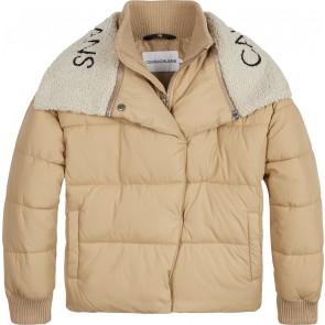 Calvin Klein kids winterjas logo collar puffer jacket in de kleur zand