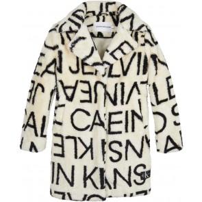 Calvin Klein kids winterjas teddy mantel met all over print in de kleur off white