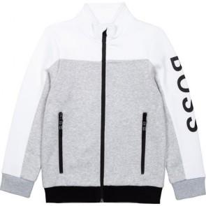 Hugo Boss kids boys zipper sweatvest in de kleur wit/grijs