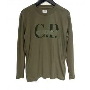 CP Company under sixteen kids longsleeve shirt met logo print in de kleur army green