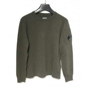 CP Company knitwear trui crew neck extrafine merino wool in de kleur donkergroen