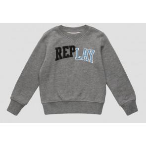 Replay kids sweater trui met logo print in de kleur grijs