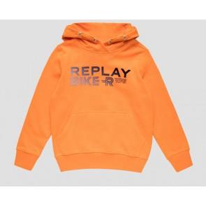 Replay kids hoodie sweater trui bike-r in de kleur oranje