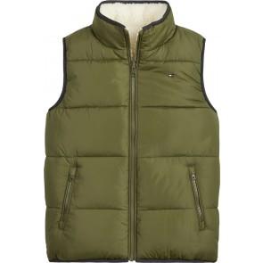 Tommy Hilfiger kids boys reversible sherpa teddy bodywarmer in de kleur groen/off white