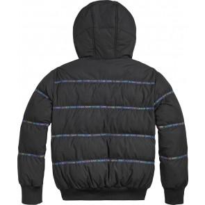 Tommy Hilfiger kids girls winterjas tape long bomber jacket in de kleur zwart
