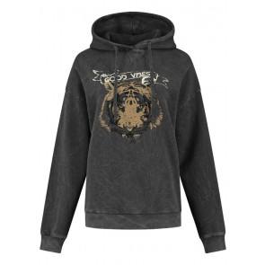 Circle of trust girls Jo hoodie sweater trui Caviar in de kleur antraciet grijs