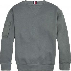 Tommy Hilfiger kids boys sweater trui utility mix  in de kleur slate green