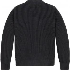Tommy Hilfiger kids girls global stripe henley sweater in de kleur zwart