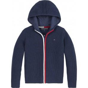 Tommy Hilfiger kids boys flag zip cardigan gebreid hoodie vest in de kleur donkerblauw
