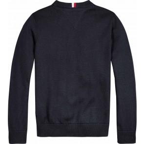Tommy Hilfiger kids boys tommy neckline logo sweater in de kleur zwart